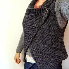 Cómo hacer un chaleco con un rectángulo de tela Knit Shrug, Body Warmer, Polka Dot Top, Stripes, Turtle Neck, Knitting, Sewing, Sweaters, Casual