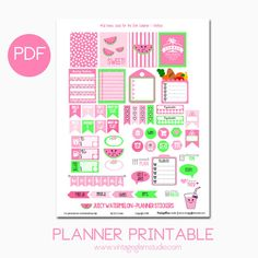 Free Printable Juicy Watermelon Planner Stickers from Vintage Glam Studio