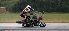 Matt McKeown smashed his own world speed record by achieving 45.55mph  in a jet-powered shopping trolley.