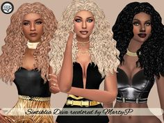 Sintiklia's Diva Hair Recolored at BTB Sims – MartyP via Sims 4 Updates