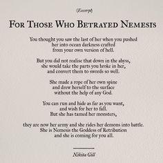 Nikita Gill // For Those Who Betrayed Nemesis