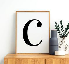 "Letter ""C"" Printable Art Poster, Alphabet C Wall Art, C Initial Wall Art, Monochrome Nursery, Letter Initial Wall Art, Letter Wall Art, Letter C, Bathroom Prints, Bathroom Art, Printing Websites, Online Printing, Monochrome Nursery, All Design"