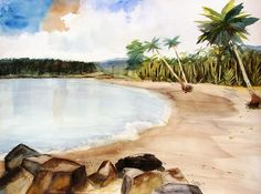 Aganoa Beach, Savai'i island of Samoa.  Watercolor painting by Carlin Blahnik.  A long sandy beach with tropical ocean water that reflects the colors in the sky.  http://www.carlinart.com/
