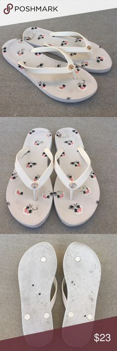 Coach cream flip flops Gently worn , size 9-10, price as is no returns Coach Shoes