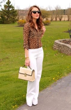 leopard print, white pants