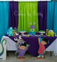 Betty V's Birthday / Monster's Inc - Ashley's Monster's Inc Bash at Catch My Party Monster University Birthday, Monster 1st Birthdays, Monster Inc Party, Monster Birthday Parties, Monsters Inc Invitations, Monster Birthday Invitations, 1st Birthday Party Supplies, Monsters Inc Baby Shower, Monster Baby Showers