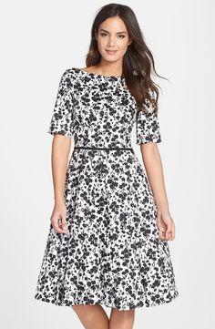 Print Sateen Fit & Flare Dress (Regular & Petite)