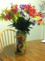 My son's end of year teacher gift.  The flower arrangement has magnetic letters inside the vase.  It was very easy to make.