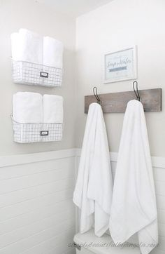 Simply Beautiful By Angela: One Room Challenge--Builder Grade to Farmhouse Style Master Bathroom on a Budget. Wire Towel Baskets and Industrial Towel Hooks