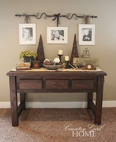 """COUNTRY GIRL HOME: my new """"hand crafted"""" sofa table. Check out curtain rod for hanging pictures. Country Girl Home, Country Decor, Country Style, Country Homes, Modern Country, Country Living, Home Interior, Interior Design, Interior Paint"""