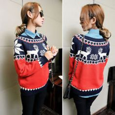 round neck winter cosy christmas deer knit warm cotton sweater pullover