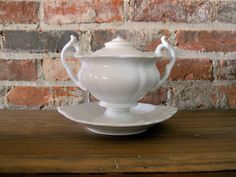 White Ironstone Tureen Antique Ironstone by RiverHouseDesigns