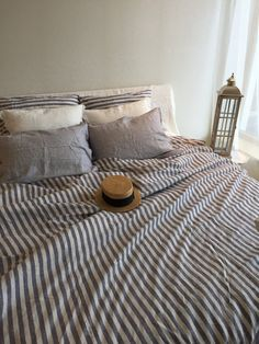 Linen duvet cover striped linen bedding blue and by Linenbeeshop