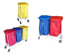 Laundry Solutions Australia's collection trolleys come in single, double and triple.     - Foot operated lids (OH safe)              - Colour-coded lids (red, yellow, blue, green and white)  - Suits Standard Laundry bags                   - Optional side bin  - Large rubber wheels                               - Durable White epoxy coating - Single: 880H x 500W x 535D / Double: 880H x 890W x 535D / Triple: 880H x 1290W x 535D