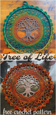 Motif Mandala Crochet, Crochet Tree, Bag Crochet, Crochet Diy, Crochet Gifts, Crochet Doilies, Crochet Flowers, Crochet Dreamcatcher Pattern Free, Crotchet