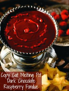 Copycat Melting Pot Dark Chocolate Raspberry Fondue - Great Valentine's Day Dessert!