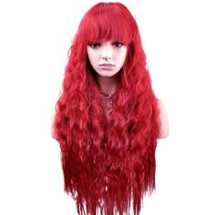 YOPO Wigs Long Curly Healthy Hair High Quality Cosplay Costume Party Wig(Wine Red)
