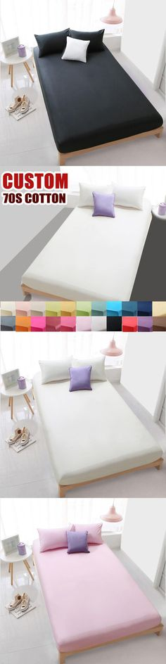 Custom 70S Cotton Solid Bed Sheet for double single fitted sheet bedding linens sheets,High-density bed sheet White Black#9115 #DoubleBedSheets