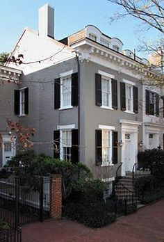 Colonial With Gray Shingle Siding White Trim Black Shutters Nice Portico Curb Appeal