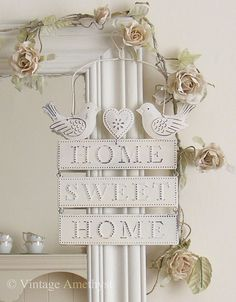 Pretty Home Sweet Home Sign & Ivory Rose Garland from www.vintageamethyst.co.uk