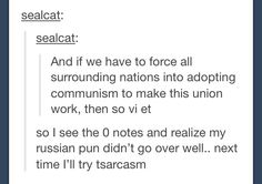 Russian puns <<< oh god, I understood this the first time I read it and I'm cringing and laughing Puns Jokes, Dad Jokes, Funny Quotes, Funny Memes, Hilarious, History Puns, History Major, Bad Puns, Haha