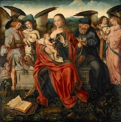 Attributed to the Master of Frankfurt About 1520 (Netherlandish) - Holy Family with Music Making Angels, 1515. Walker Art Gallery