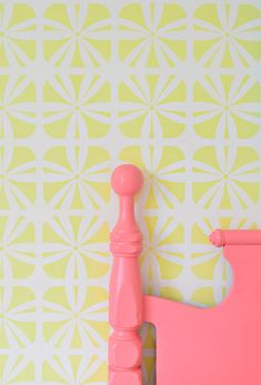 Bright and Bold Colors for a Girl's Room stenciled with Kinetic Floral Wall Stencil for Wallpaper Look | Royal Design Studio wall stencils via Young House Love