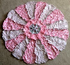 Flower Shaped Rag Quilt by RaggedyCathy on Etsy, $100.00