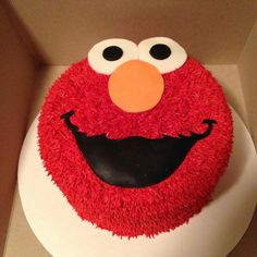 Elmo Face Cake made by Cakes by Becky. #elmo #sesamestreet #cake