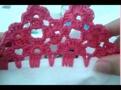 Bico de crochê carreira única flores#56 - YouTube