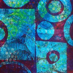 Gelli print ll #monotype #printmaking #print #printing #gelliprint #gelliplate #blue #translucent #artsy #abstract #abstractart #joseesavaria_art #printstudio #exploring #circle