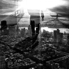 magneticart | I won't stop following the light | montage composite + cityscape architecture street silhouette shadows black & white