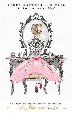 A feminine and glamorous clip art collection featuring a fashion girl dressed in a beautiful dress with delicate lace details. She is applying make up in a luxurious decor. Hand drawn graphics include make up accessories, lip stick, blush, eye shadow, nail polish, perfume, planner, dressing table with french deco mirror.  You will receive 33 individual graphics to create your own design arrangement and layout.  The clip art set is perfect for planner stickers, planner dashboard, planner…