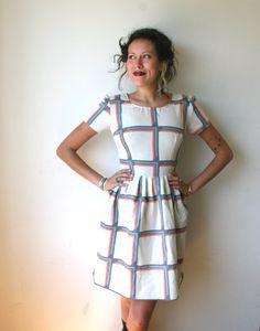 Geometric Rainbow Striped Mini Dress Sz XS Rusty Cuts by rustycuts, $62.00