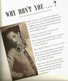Diana Vreeland (29 de julho de 1903, Paris – 22 de agosto de 1989, Nova Iorque) foi um ícone da moda internacional, colunista e editora de duas das maiores publicações editoriais do ramo, Vogue e Harper's Bazaar, conhecida por sua criatividade ilimitada e seu forte temperamento.  http://sergiozeiger.tumblr.com/post/98728845668