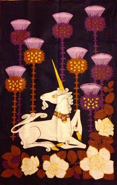 Unicorn ~ rare Irish Linen    1960 tea towel