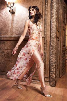 Cream & Light Peach Silk Designer Anarkali Suit