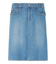 ShopBazaar See by Chloe Denim A-Line Skirt MAIN