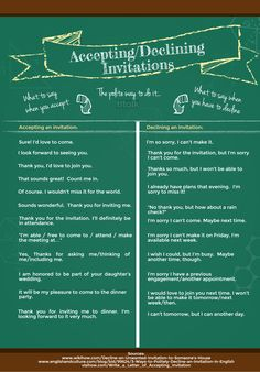 The correct way to accept and decline invitations. #ESL #learning #english