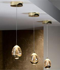 LED hanging light Rocio in gold finish Copper Pendant Lights, Contemporary Pendant Lights, Modern Pendant Light, Ceiling Pendant, Pendant Lighting, Ceiling Lights, Types Of Lighting, Cool Lighting, Lighting Design