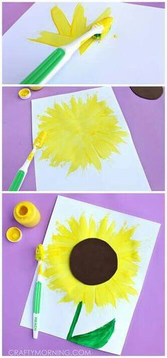 Make a Sunflower Craft using a Toothbrush – Crafty Morning - diy kids crafts Kids Crafts, Summer Crafts For Kids, Toddler Crafts, Summer Kids, Spring Crafts, Projects For Kids, Art For Kids, Kids Fun, Summer Crafts For Preschoolers