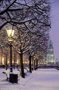 Dresden, Brühlsche Terrace at night, Church court lights up