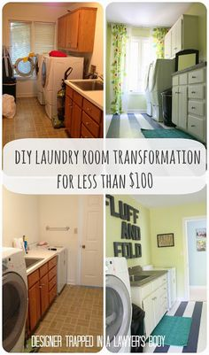 MUST PIN! Cheap DIY laundry room renovation with painted linoleum floors by Designer Trapped in a Lawyer's Body.