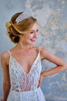 ALINE Swarovski Bridal Crown, Wedding Tiara