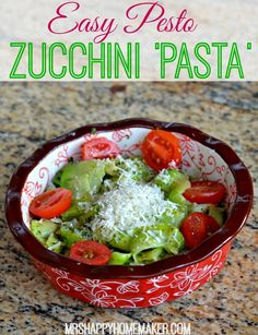 Easy Pesto Zucchini Pasta so nice and healty Lunch Snacks, Lunch Recipes, Pasta Recipes, Real Food Recipes, Salad Recipes, Vegetarian Recipes, Healthy Recipes, Noodle Recipes, Pasta Side Dishes