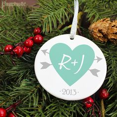 Newlywed Keepsake Ornament  -Personalized Holiday Ornament - Hearts And Arrows - orn49 - Our First Christmas - Porcelain Christmas Ornament