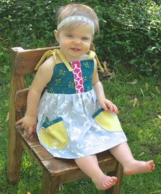 Love this Teal & Yellow Tie-Sleeve Dress - Infant, Toddler & Girls by KALMcollection on #zulily! #zulilyfinds