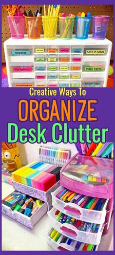 Desk Organization Ideas - Simple Tips & DIY Ideas For Your Home Office, Dorm Room or Bedroom Desk - Decluttering Your Life Desk Organization Ideas For Home – How To Organize Pens and Markers with these craft pen storage Craft Closet Organization, Organizing Hacks, Small Space Organization, Desktop Organization, Organization Ideas, Craft Storage Ideas For Small Spaces, Craft Room Desk, Diy Desk, Craft Rooms