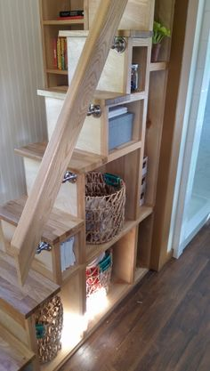 32 Ideas home loft space tiny house for 2019 Tiny House Loft, Tiny House Stairs, Best Tiny House, Loft Stairs, Porch Stairs, Utah, Casa Loft, Stair Storage, Bed Storage