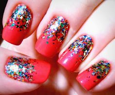 Happy Birthday reverse gradient glitter nails! Click for more pics and info.